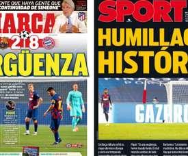 Les Unes d'Espagne après l'humiliation du Barça. Montaje/Marca/Sport