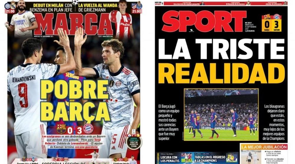Portadas de la prensa deportiva del 15-09-21. Marca/Sport