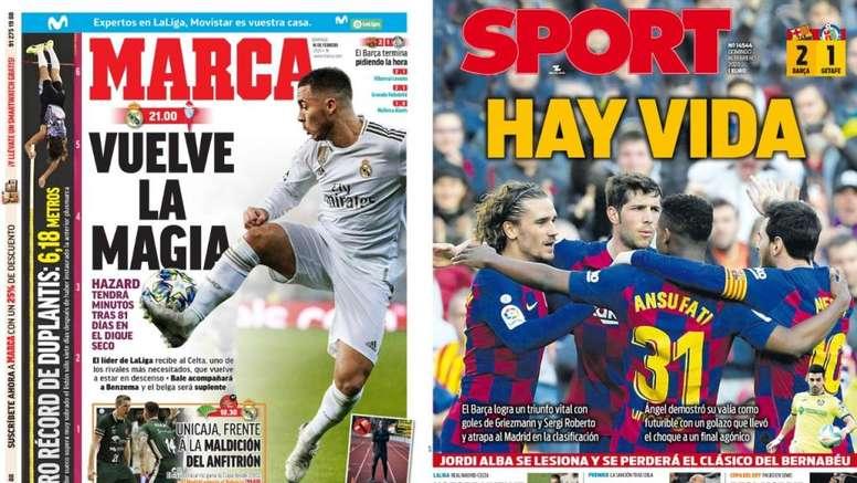 Les Unes des journaux sportifs en Espagne du 16 février 2020. Marca/Sport