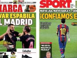 As capas da imprensa esportiva. Marca/Sport