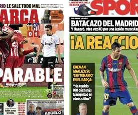 As capas da imprensa esportiva de 29 de novembro de 2020. Marca/Sport
