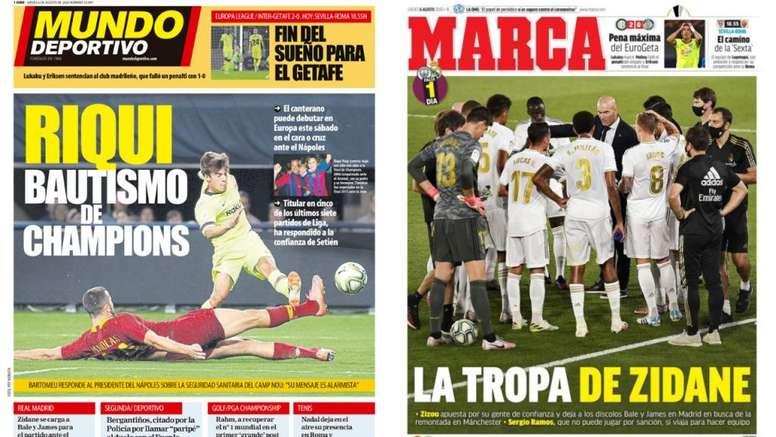 Portadas de la prensa deportiva del 06-08-20. Montaje/MundoDeportivo/Marca