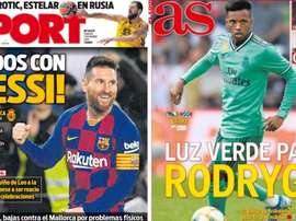 Capas dos portais Sport e AS do dia 07-12-19. Sport/AS