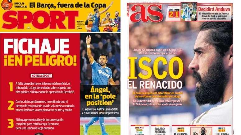 Les Unes des journaux sportifs en Espagne du 14 février 2020. Sport/AS
