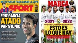 Capas dos jornais espanhóis Sport e Marca.