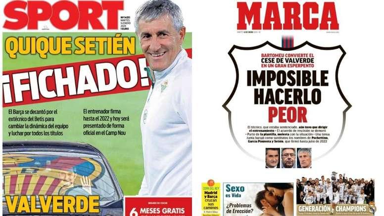 Estas son las principales portadas deportivas de hoy. Montaje/Sport/Marca