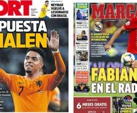 Les Unes des journaux sportifs en Espagne du 14/10/2019. Sport/Marca
