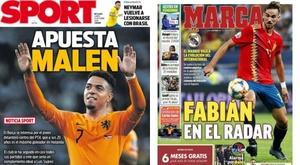 Estas son las portadas de la prensa deportiva de hoy. Montaje/Sport/Marca