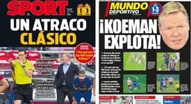 As capas da imprensa esportiva. Montaje/Sport/MundoDeportivo