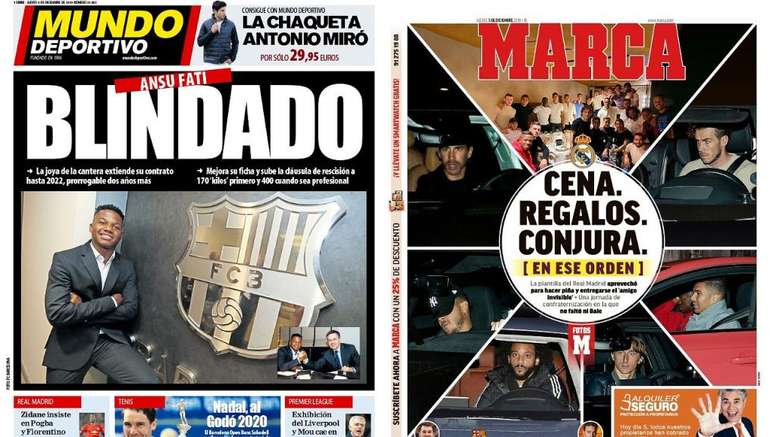 Capas do Mundo Deportivo e Marca 05-12-19. Montagem/MD/Marca