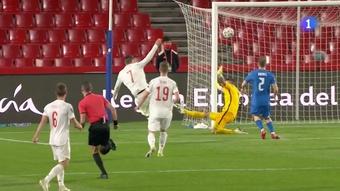 Alvaro Morata put Spain ahead against Greece. Screenshot/TV1