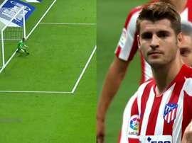 Comme Saúl contre le Barça, Morata a dû retirer son penalty. Captures/Movistar