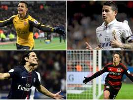 Collage de Cavani, Alexis Sánchez, James et Chicharito. BeSoccer