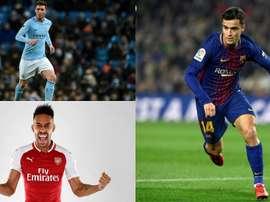 Laporte, Aubameyang y Coutinho, en la lista. BeSoccer
