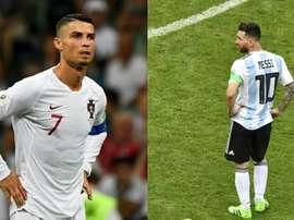 Cristiano y Messi siguen sin ir con sus selecciones. EFE/AFP