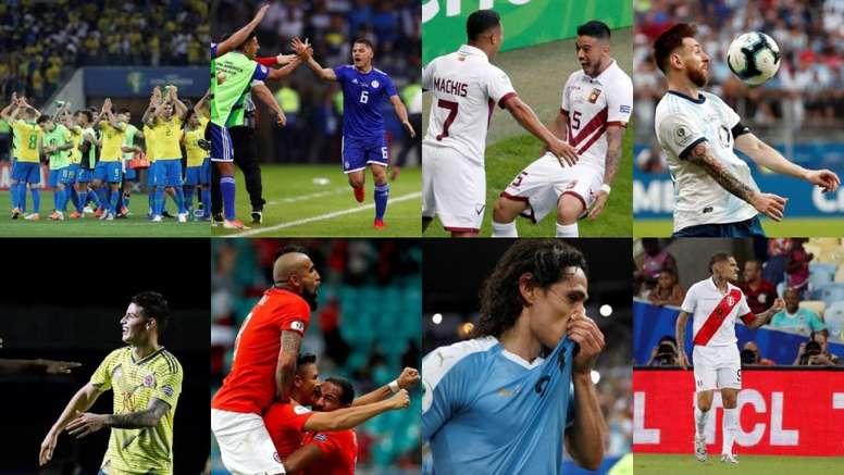 Así quedan los cuartos de final de la Copa América 2019. Montaje/EFE/AFP