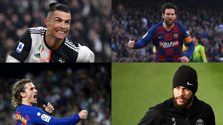 Messi, Cristiano, Neymar e Griezmann são os jogadores de futebol mais bem pagos no mundo. AFP