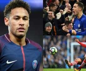 Neymar, Hazard y Boufal, los protagonistas. BeSoccer