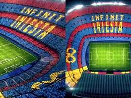 Coreografia para a despedida de Iniesta. Captura/FCBarcelona