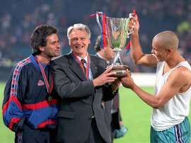 Mourinho, Bobby Robson and Ronaldo celebrate winning the Cup Winners' Cup. AFP