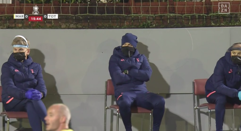 Jose Mourinho had to sit on a chair. Screenshot/DAZN