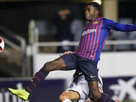 Moussa Wagué joueur du FC Barcelone B. FCBarcelone