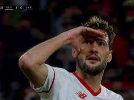 'Mudo' Vazquez a trouvé la faille dans la défense catalane. Captura/ESPN