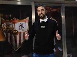 Munas Dabbur, na chegada ao Sevilha. SevillaFC