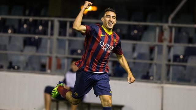 Munir celebra um gol com o juvenil do Barcelona. FCBarcelona
