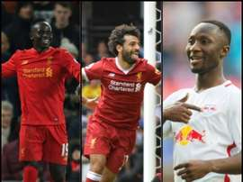 Naby Keita, Mohamed Salah e Sadio Mané. BeSoccer