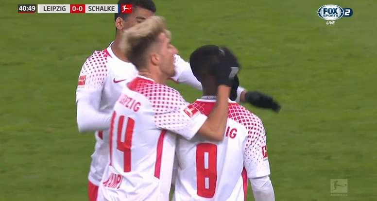 Naby Keïta marcó el 1-0 para el RB Leipzig. Captura/FoxSports