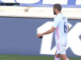 Real Madrid had to replace Nacho before half-time. Screenshot/MovistarLaLiga