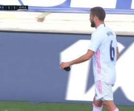 Real Madrid had to replace Nacho before half-time. Screenshot/MovistarLaLiga
