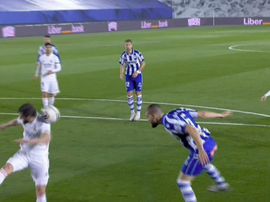 Nacho was wrongly penalised for handball. Screenshot/MovistarLaLiga