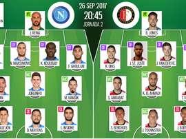 Os onzes de Napoli e Feyenoord para a partida desta terça-feira. BeSoccer