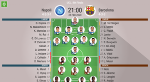 Napoli v Barcelona, Champions League 19-20 round of 16, 25/02/2020 - official line-ups. BeSoccer