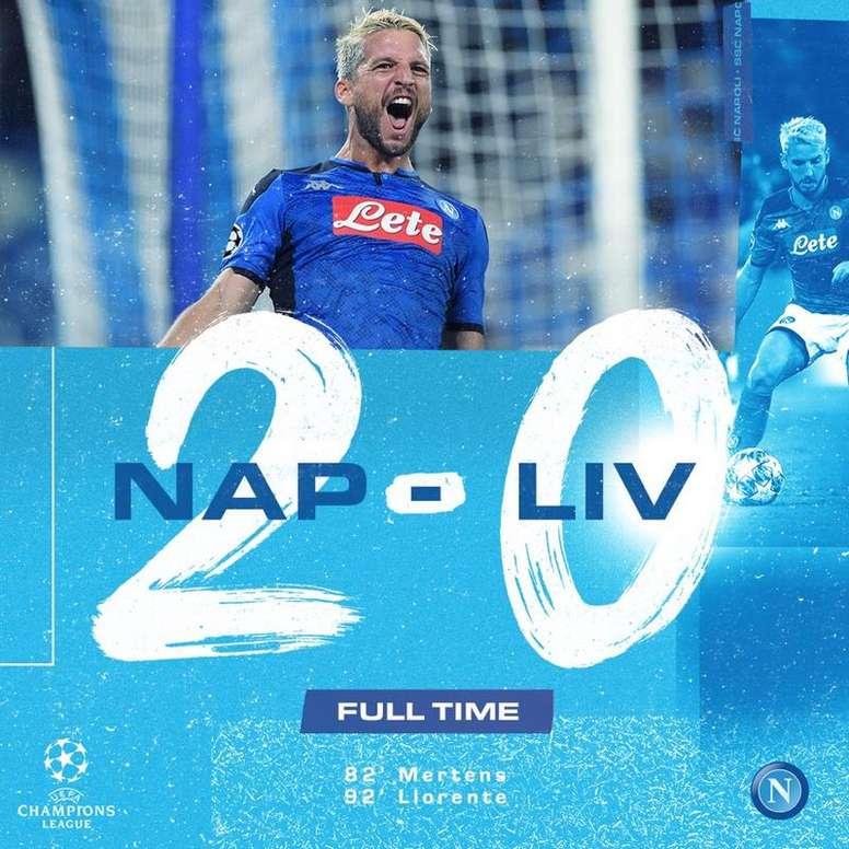 Napoli mostra que essa Champions não será fácil. Twitter.com/sscnapoli