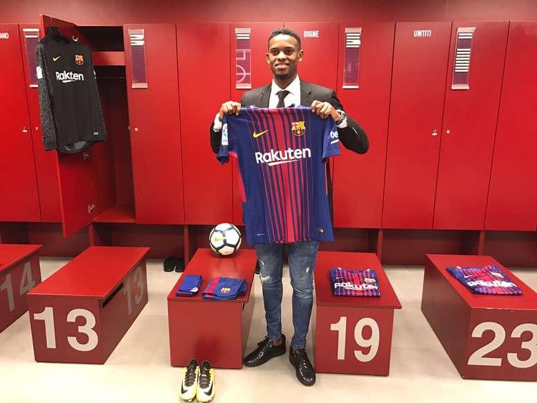 ¿Cuánto mide Nelson Semedo? - Real height Nelson-semedo--en-su-presentacion-como-nuevo-jugador-del-barcelona--twitter-fcbarcelona