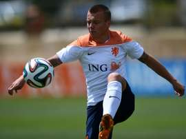 Netherlands midfielder Jordy Clasie controls the ball during a training session in Lagos, southern Portugal, on May 22, 2014