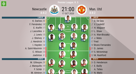 Newcaslte v Man. Utd, Premier League 2020/21, Matchday 5, 17/10/2020 - Official line-ups. BESOCCER