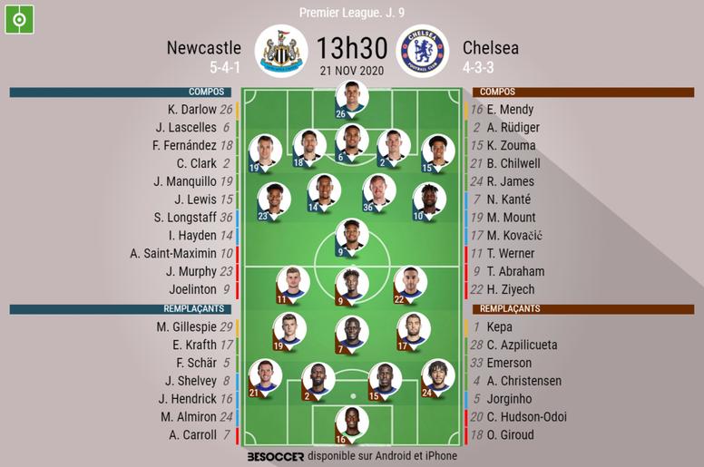 Les compos officielles du match de Premier League entre Newcastle et Chelsea. BeSoccer