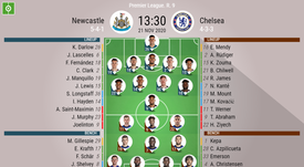 Newcastle v Chelsea. Premier League 2020/21. Matchday 9, 21/11/2020-official line.ups. BESOCCER