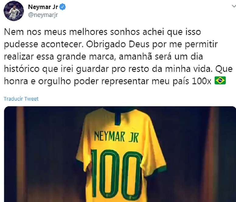 Neymar will make his 100th appearance with Brazil. Captura/Twitter/NeymarJr