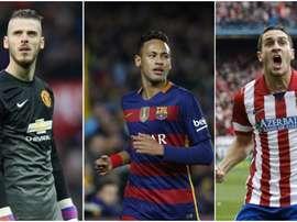Neymar, Koke y De Gea, tres de los protagonistas de las filtraciones de Football Leaks. BeSoccer
