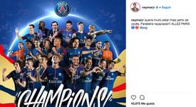 Neymar a félicité son équipe. Instagram/NeymarJr