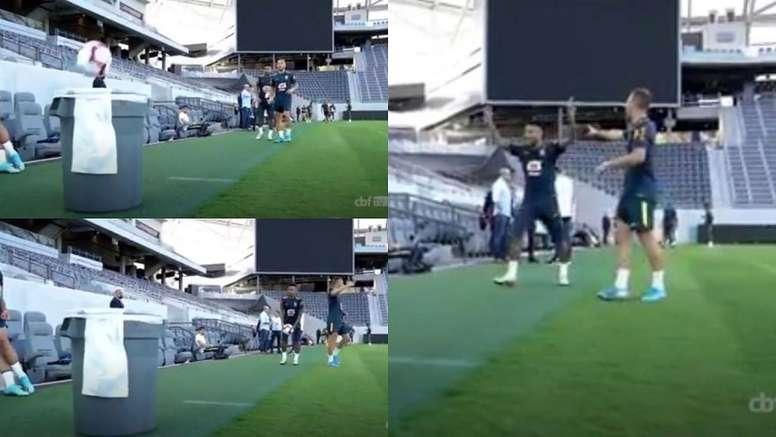 Neymar le hizo trampa a Arthur en el juego. Capturas/CBFFutebol