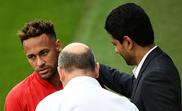 Neymar confronts Al Khelaifi. AFP