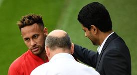 Desencuentro Neymar-Al Khelaifi. AFP