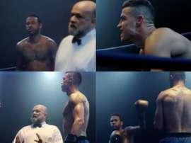 Neymar e Cristiano se encaram em um ringue de boxe. MEO