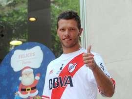 Nicolás Domingo, en su presentación como nuevo futbolista de River Plate. Twitter